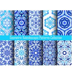 kaleidoscopic decorative blue backgrounds vector image