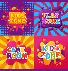 kid zone playroom child game room area posters vector image