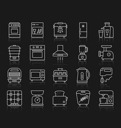 Kitchen appliances simple line icons set vector