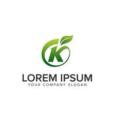 letter k leaf logo design concept template vector image
