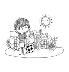 little boy with soccer balloon kids zone vector image