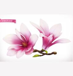 magnolia 3d realistic icon vector image