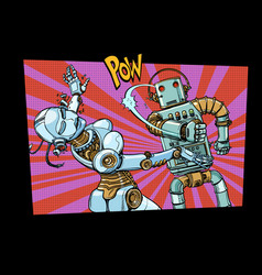 male and female robots fighting domestic violence vector image
