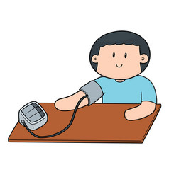 man using blood pressure monitor vector image
