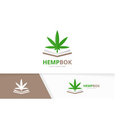 Marijuana leaf and open book logo vector