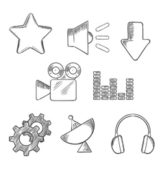 Media and sound sketched icons set vector image vector image