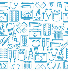 medical pattern with stethoscope pills syringe vector image