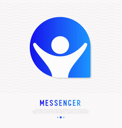 Messenger icon man with hands up in speech bubble vector