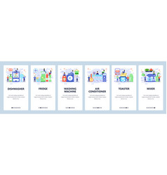 Mobile app onboarding screens home interior vector