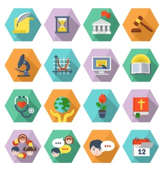 Modern Flat Education Icons in Hexagons vector image
