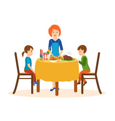 Mom cooks on a dinner children sit table vector