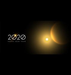 New year 2020 gold sun eclipse sky web banner vector