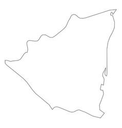 nicaragua - solid black outline border map of vector image