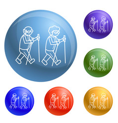 old person at scandinav walk concept background vector image