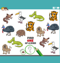 One a kind game for children with wild animals vector