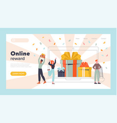 Online reward concept with gift wrapped boxes vector