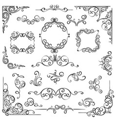 Ornate swirl frames headers and scroll elements vector