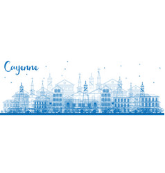 outline cayenne skyline with blue buildings vector image
