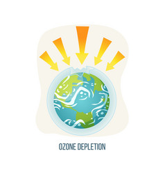 ozone depletion earth with broken layers icon vector image
