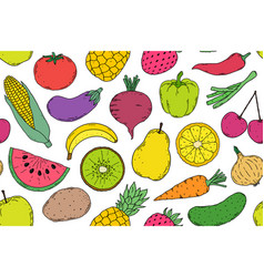 pattern with vegetables and fruits vector image