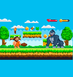 Pixel game with caveman and huge gorilla vector