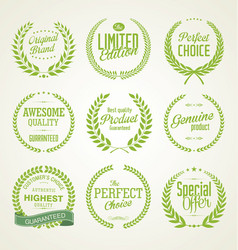 premium quality green laurel wreath collection vector image