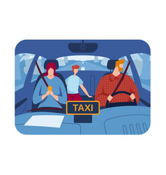 Professional driver passengers ride taxi inside vector