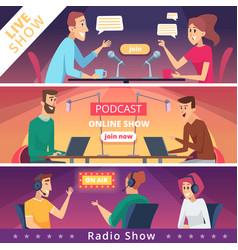 radio show banners audio radio music microphones vector image