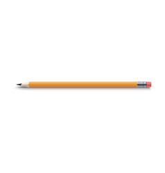 realistic pencil 3d sharpened yellow pencil vector image