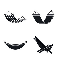 relax hammock icon set simple style vector image