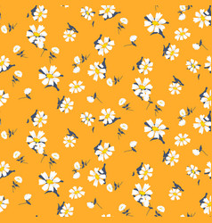 Retro daisy simple yellow florals seamless vector