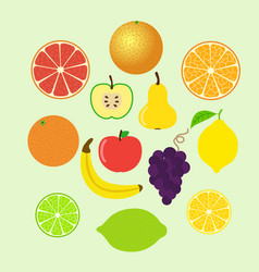 Set of colorful cartoon fruit icons whole and vector