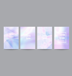 set of template with holographic soft pastel vector image