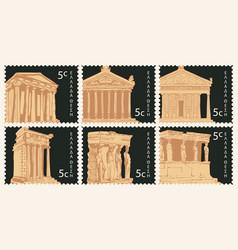 set postage stamps with ancient greek landmarks vector image