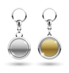 Silver and gold keychains in round shapes vector