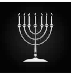 Silver Hanukkah menorah icon on black background vector