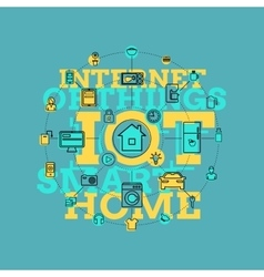 Smart Home And Internet Of Things Line Art vector