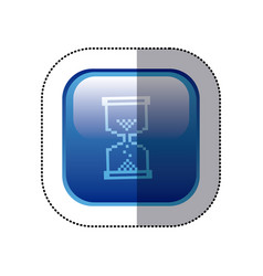 Sticker blue square frame with hourglass icon vector