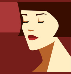 stylish woman with bob haircut fashion vector image