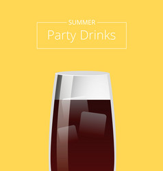 summer party drinks promo poster with cocktail vector image