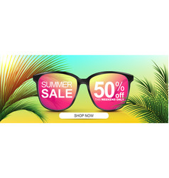 Summer sale 50 off discount banner sunglasses vector