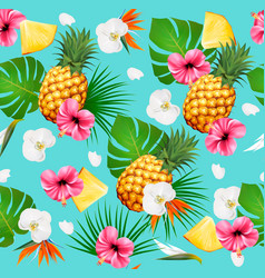 summer tropical seamless pattern with fruits and vector image