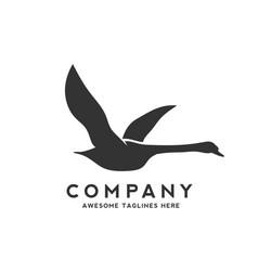 Swan fly logo design vector