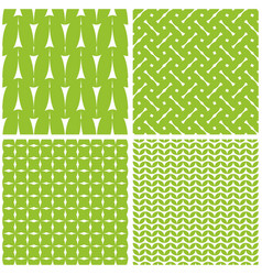 tile pattern with white print on green background vector image