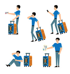 tourist male character set - young man in casual vector image