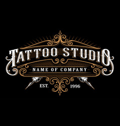 Vintage tattoo studio emblem 2 for dark background vector