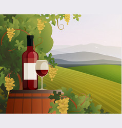 Wine and vineyard vector