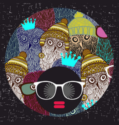 young afro girl with dark skin and creative turban vector image