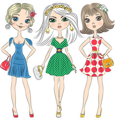 beautiful fashion girls top models vector image vector image