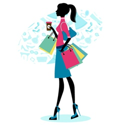 Beautiful woman shopping with coffee vector image vector image